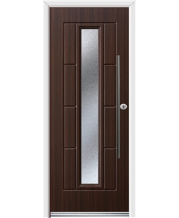 Ultimate Vermont Rockdoor in Mahogany with Gluechip Glazing and Bar Handle
