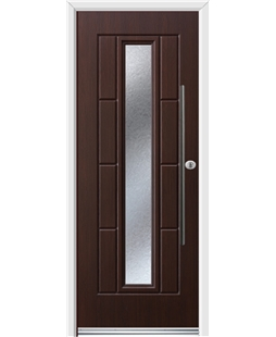 Ultimate Vermont Rockdoor in Rosewood with Gluechip Glazing and Bar Handle