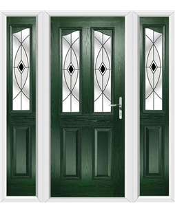 The Birmingham Composite Door in Green with Black Fusion Ellipse and matching Side Panels