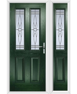 The Cardiff Composite Door in Green with Crystal Harmony Frost and matching Side Panel