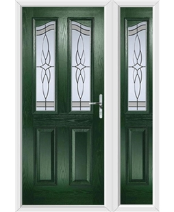 The Birmingham Composite Door in Green with Crystal Harmony Frost and matching Side Panel