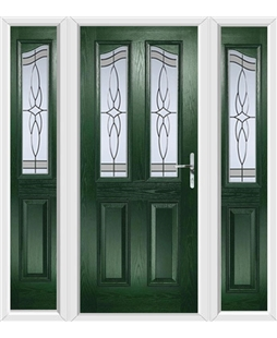 The Birmingham Composite Door in Green with Crystal Harmony Frost and matching Side Panels