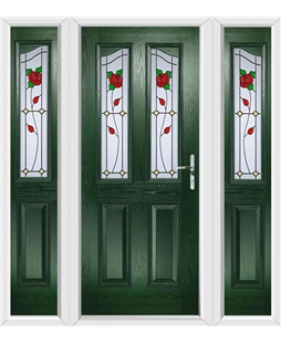The Birmingham Composite Door in Green with English Rose and matching Side Panels