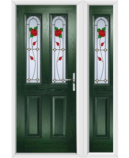 The Aberdeen Composite Door in Green with English Rose and matching Side Panel