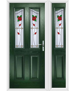The Birmingham Composite Door in Green with English Rose and matching Side Panel