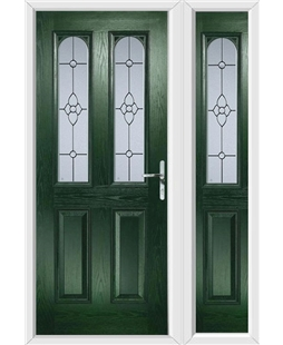 The Aberdeen Composite Door in Green with Finesse Glazing and matching Side Panel