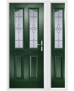 The Birmingham Composite Door in Green with Finesse Glazing and matching Side Panel
