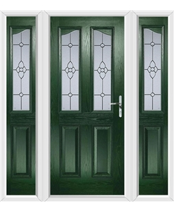 The Birmingham Composite Door in Green with Finesse Glazing and matching Side Panels