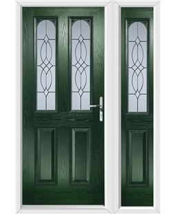 The Aberdeen Composite Door in Green with Flair Glazing and matching Side Panel
