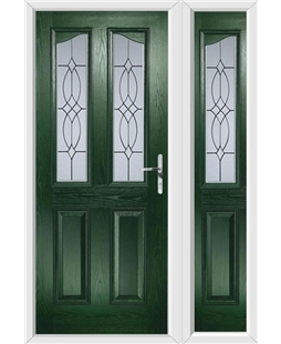 The Birmingham Composite Door in Green with Flair Glazing and matching Side Panel