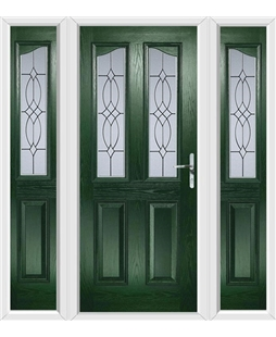The Birmingham Composite Door in Green with Flair Glazing and matching Side Panels