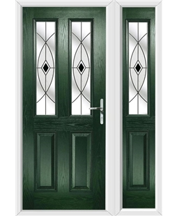 The Cardiff Composite Door in Green with Black Fusion Ellipse and matching Side Panel