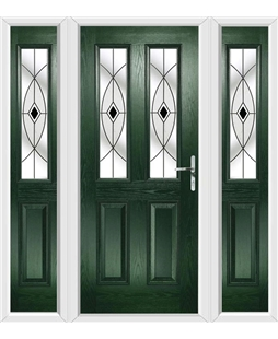 The Cardiff Composite Door in Green with Black Fusion Ellipse and matching Side Panels