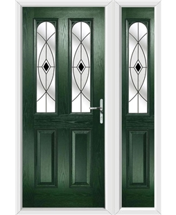 The Aberdeen Composite Door in Green with Black Fusion Ellipse and matching Side Panel