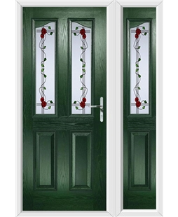The Birmingham Composite Door in Green with Mackintosh Rose and matching Side Panel
