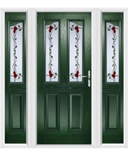 The Birmingham Composite Door in Green with Mackintosh Rose and matching Side Panels