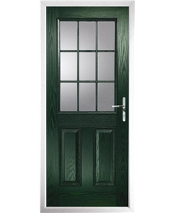 The Kettering Composite Door in Green with Clear Glazing