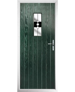 The Taunton Composite Door in Green with Black Crystal Bohemia