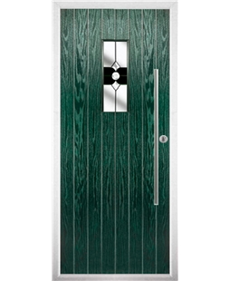 The Zetland Composite Door in Green with Black Crystal Bohemia