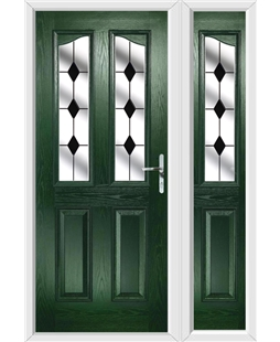 The Birmingham Composite Door in Green with Black Diamonds and matching Side Panel