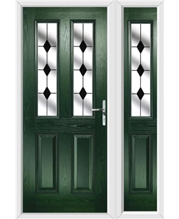 The Cardiff Composite Door in Green with Black Diamonds and matching Side Panel