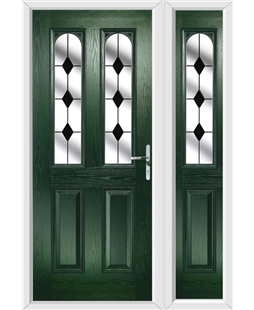 The Aberdeen Composite Door in Green with Black Diamonds and matching Side Panel