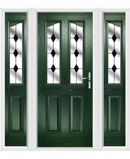 The Birmingham Composite Door in Green with Black Diamonds and matching Side Panels