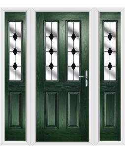 The Cardiff Composite Door in Green with Black Diamonds and matching Side Panels