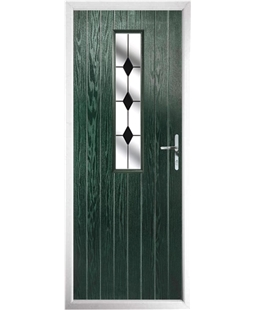 The Sheffield Composite Door in Green with Black Diamonds