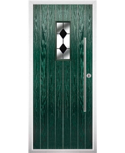 The Zetland Composite Door in Green with Black Diamonds