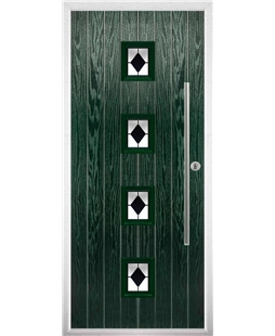 The Leicester Composite Door in Green with Black Diamonds