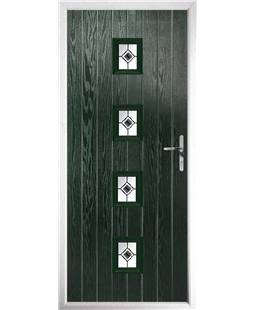 The Uttoxeter Composite Door in Green with Black Fusion Ellipse