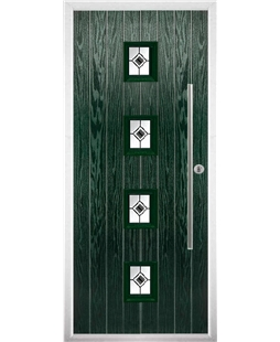 The Leicester Composite Door in Green with Black Fusion Ellipse