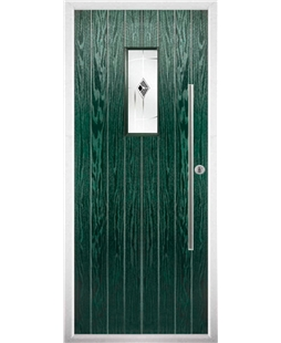 The Zetland Composite Door in Green with Green Murano