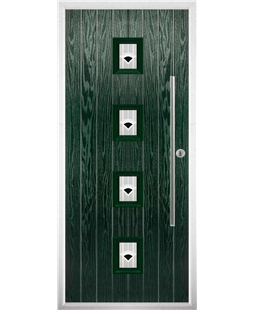 The Leicester Composite Door in Green with Black Murano