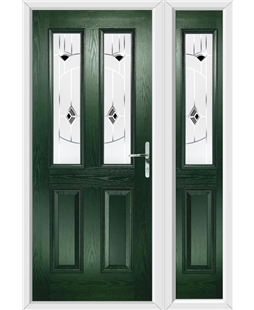 The Cardiff Composite Door in Green with Black Murano and matching Side Panel