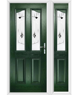 The Birmingham Composite Door in Green with Black Murano and matching Side Panel