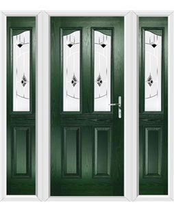 The Birmingham Composite Door in Green with Black Murano and matching Side Panels
