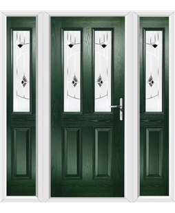 The Cardiff Composite Door in Green with Black Murano and matching Side Panels