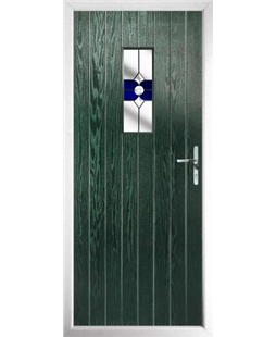 The Taunton Composite Door in Green with Blue Crystal Bohemia