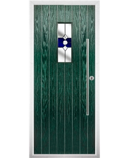 The Zetland Composite Door in Green with Blue Crystal Bohemia
