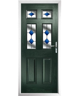 The Oxford Composite Door in Green with Blue Diamonds