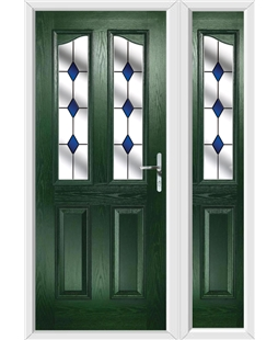 The Birmingham Composite Door in Green with Blue Diamonds and matching Side Panel