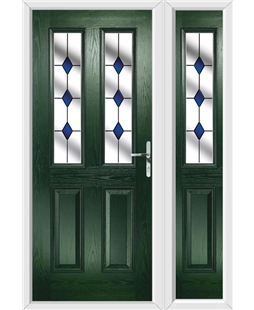 The Cardiff Composite Door in Green with Blue Diamonds and matching Side Panel