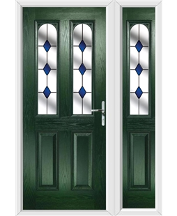The Aberdeen Composite Door in Green with Blue Diamonds and matching Side Panel