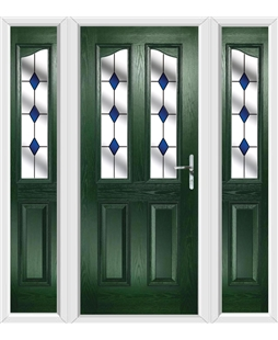 The Birmingham Composite Door in Green with Blue Diamonds and matching Side Panels