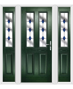 The Cardiff Composite Door in Green with Blue Diamonds and matching Side Panels