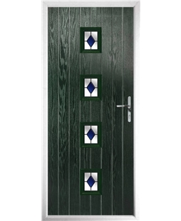 The Uttoxeter Composite Door in Green with Blue Diamonds