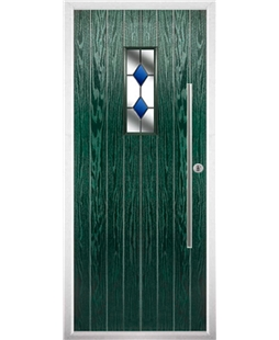 The Zetland Composite Door in Green with Blue Diamonds