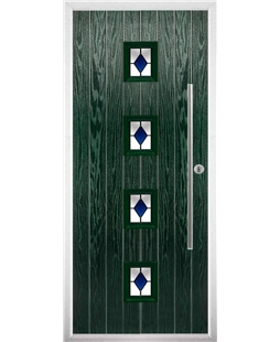 The Leicester Composite Door in Green with Blue Diamonds